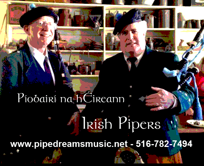 Irish pipers at old pub poster