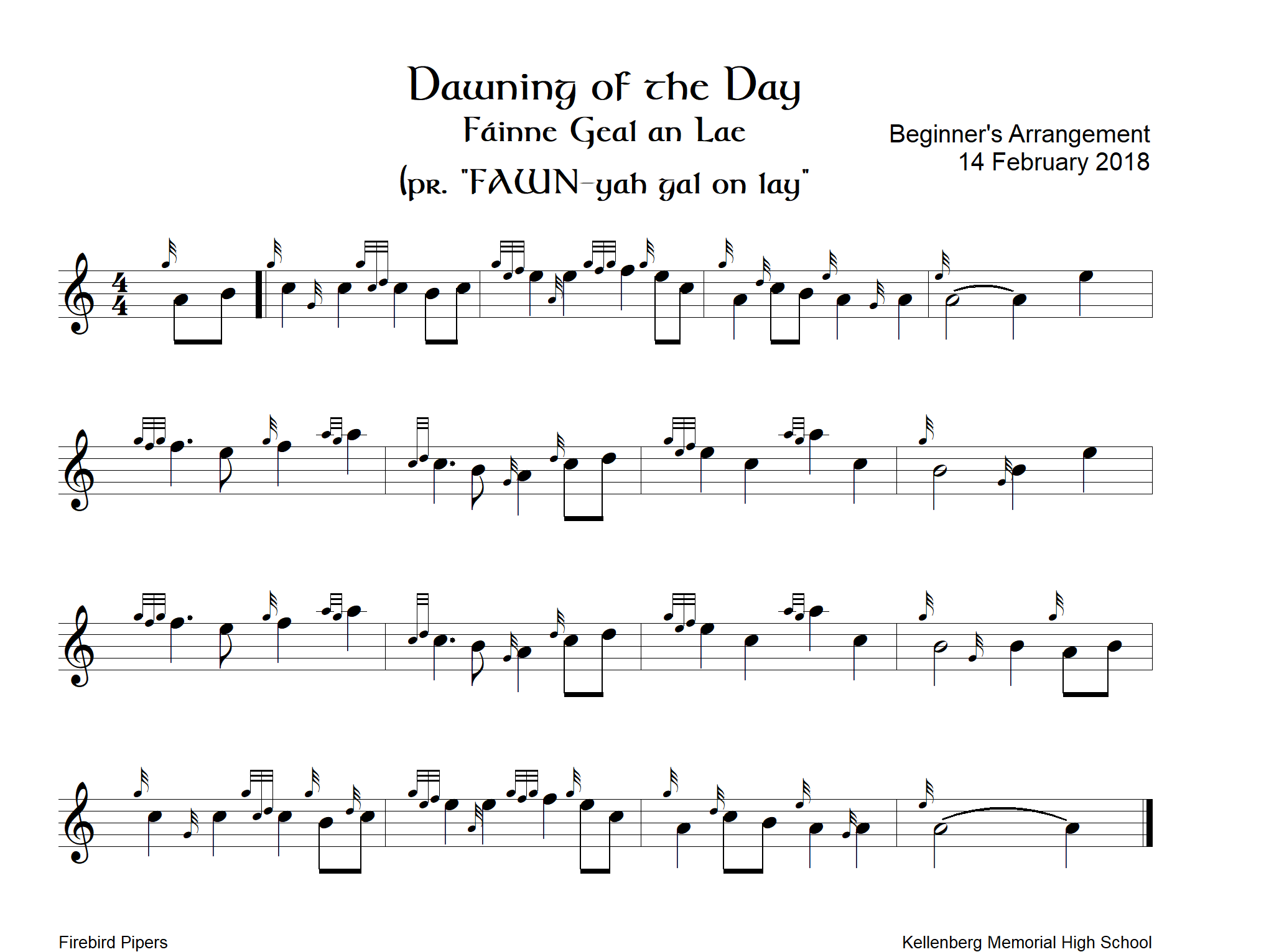 Dawning of the Day, Beginner's Arrangement – Ceol na nGleannta